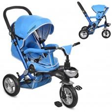 Велосипед трехколесный с ручкой детский Turbo Trike M AL 3645A-12 надувные колеса, алюминиевая рама, голубой