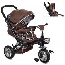 Велосипед трехколесный с ручкой детский Turbo Trike M AL 3645A-13 надувные колеса, алюминиевая рама, шоколад