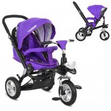 Велосипед трехколесный с ручкой детский Turbo Trike M AL 3645A-8 надувные колеса, алюминиевая рама,  фиолетовый