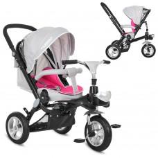 Велосипед трехколесный с ручкой детский Turbo Trike M AL 3645A-9 надувные колеса, алюминиевая рама,  серо-розовый