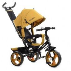 Велосипед трехколесный с ручкой детский Turbo Trike М 3113-24, EVA колеса, горчичный