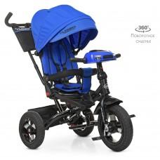 Велосипед трехколесный с ручкой детский Turbo Trike М 5448 HA-10, надувные колеса, индиго