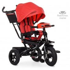 Велосипед трехколесный с ручкой детский Turbo Trike М 5448 HA-3, надувные колеса, красный