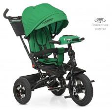 Велосипед трехколесный с ручкой детский Turbo Trike М 5448 HA-4, надувные колеса, зеленый