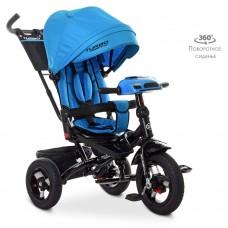 Велосипед трехколесный с ручкой детский Turbo Trike М 5448 HA-5, надувные колеса, голубой