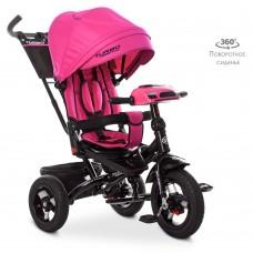 Велосипед трехколесный с ручкой детский Turbo Trike М 5448 HA-6, надувные колеса, розовый