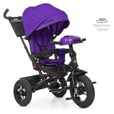 Велосипед трехколесный с ручкой детский Turbo Trike М 5448 HA-8, надувные колеса, фиолетовый